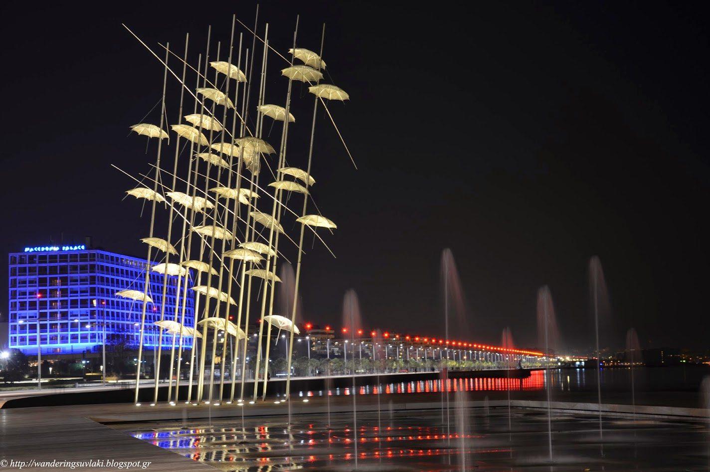 View of the umbrellas sculpture in Thessaloniki