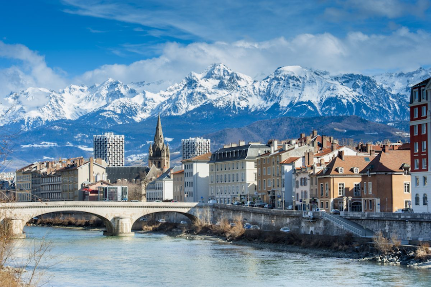 View of Grenoble with mountains in the backdrop